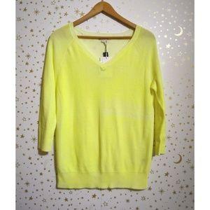 NWT Gap Neon Yellow V-Neck Sweater Small